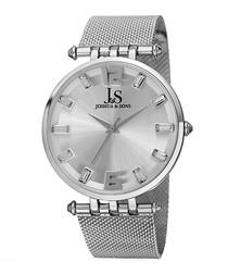 Silver-tone alloy & steel mesh watch