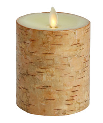 Natural wood-effect flameless candle