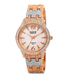 Rose gold-tone steel & crystal watch