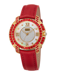 Red & gold-tone leather watch