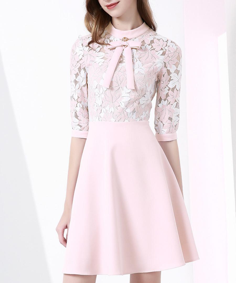 Pink cotton blend panel bow mini dress Sale - Onebuye