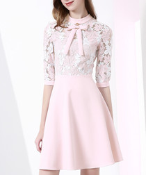 Pink cotton blend panel bow mini dress
