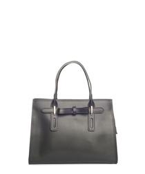 Black leather boxy grab bag