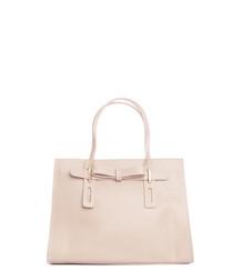 Taupe leather boxy grab bag