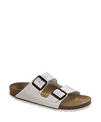 White leather narrow sandals