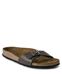 Brown single strap sandals
