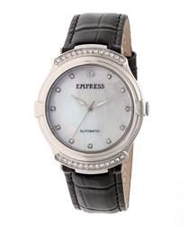 Francesca black leather watch