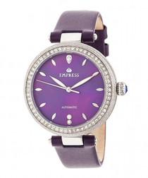 Louise steel & purple leather watch