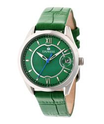 Messalina green moc-croc leather watch