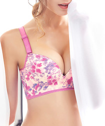Purple wireless floral push up bra