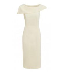 Penelope cream fold neck midi dress