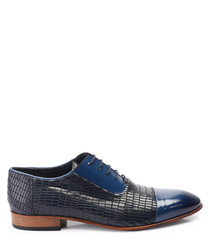 Dark blue leather two-tone shoes