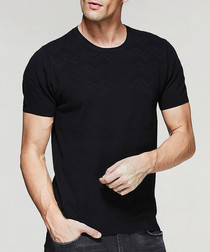 Black cotton ribbed T-shirt