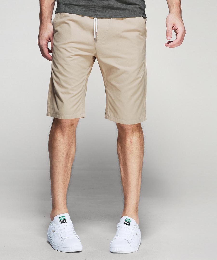 Khaki cotton shorts Sale - kuegou