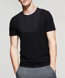Black cotton blend button T-shirt