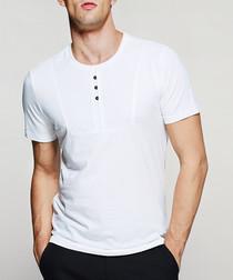 White cotton blend button T-shirt