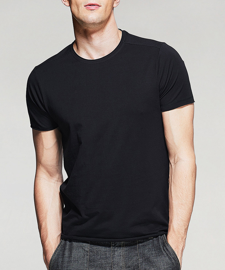 Black cotton blend T-shirt Sale - kuegou