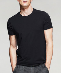 Black cotton blend T-shirt
