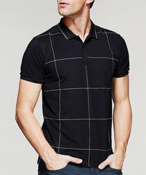 Black cotton blend checked polo shirt