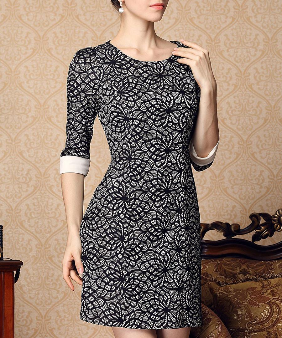 Black print roll sleeve mini dress Sale - Gyalwana