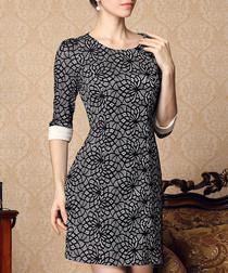 Black print roll sleeve mini dress