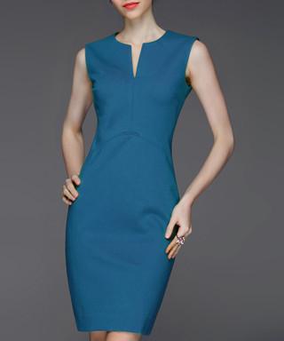 320d2804721 Blue cotton blend notch neck dress Sale - Gyalwana Sale