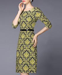 Yellow jacquard print knee-length dress