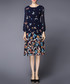 Navy butterfly print long sleeve dress Sale - Gyalwana Sale