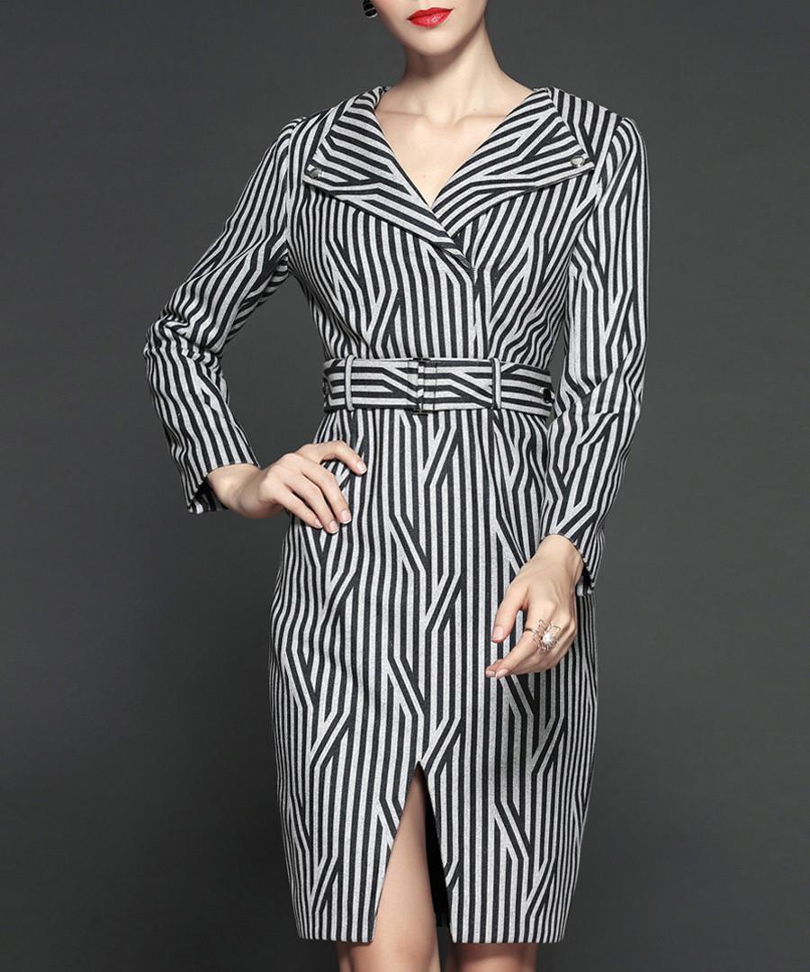 Grey stripe long sleeve dress Sale - Gyalwana