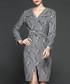 Grey stripe long sleeve dress Sale - Gyalwana Sale