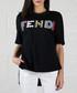 Women's black pure cotton stud T-shirt Sale - Fendi Sale