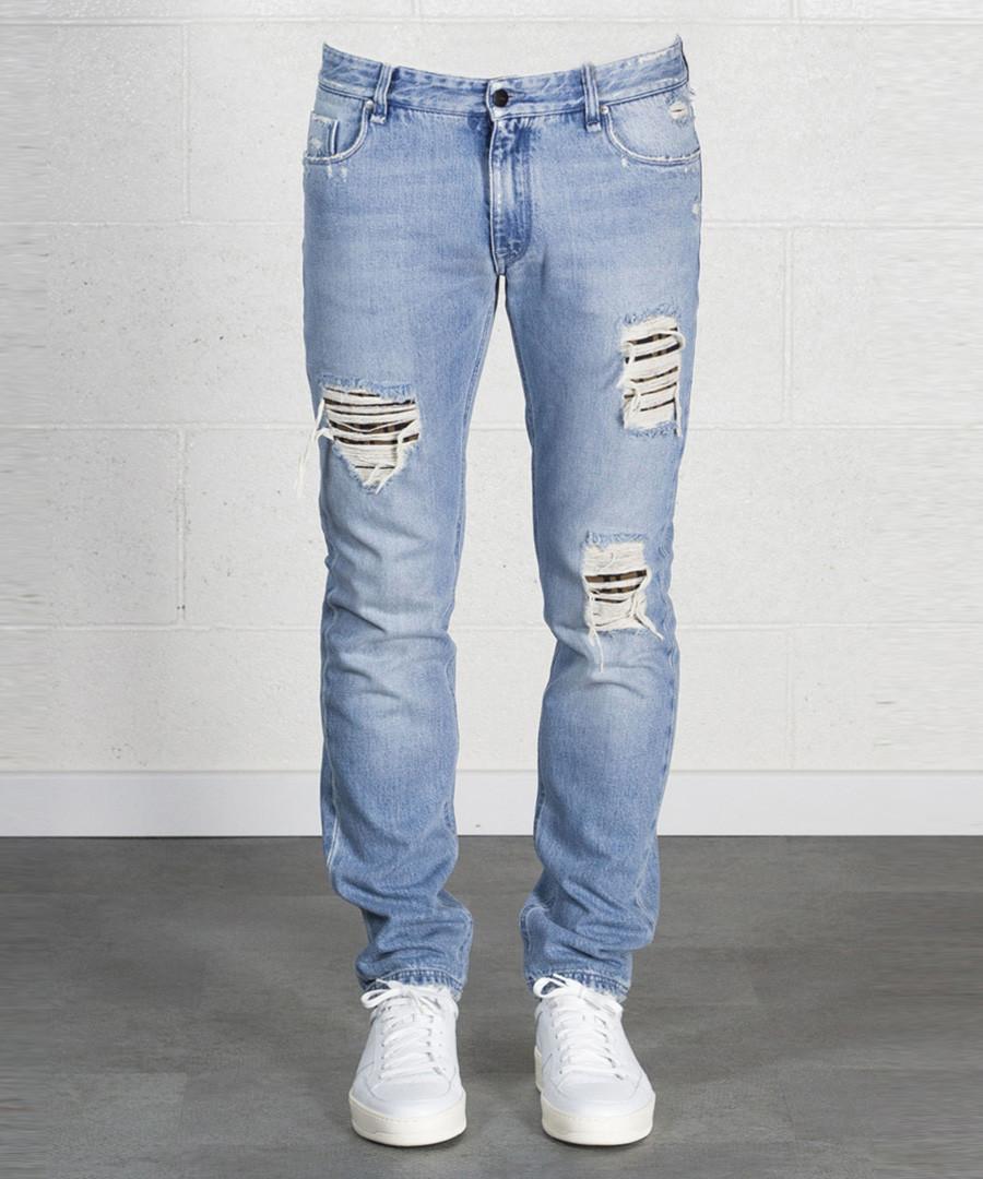 7b5dcde56a3da Men s blue pure cotton distressed jeans Sale - ...