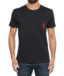 Men's black cotton skeleton T-shirt