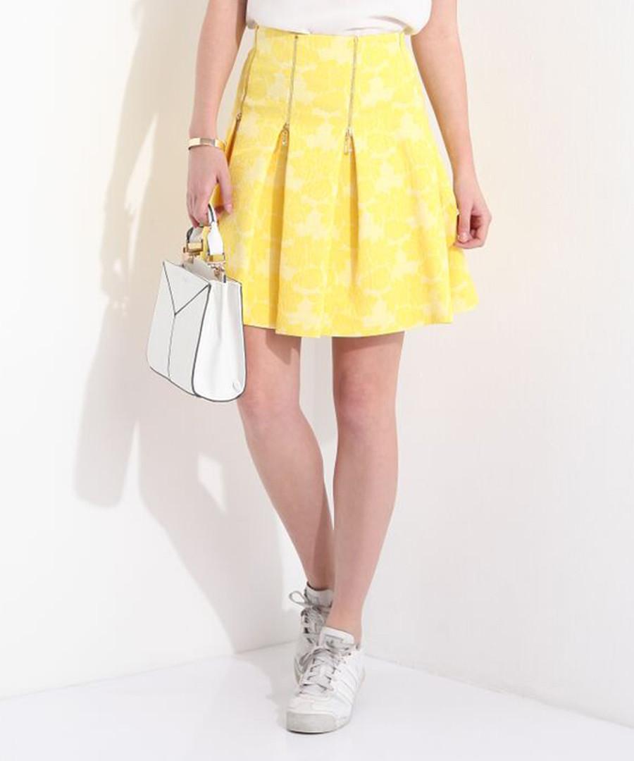 Yellow print zip pleat mini skirt Sale - JDP FASHION