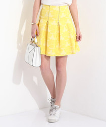Yellow print zip pleat mini skirt