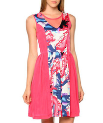 Fuchsia print sleeveless mini dress