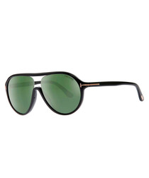 Edison black & green lens sunglasses