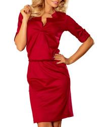 Burgundy open collar knee-length dress