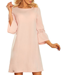 Pink lace trim bell-sleeve A-line dress