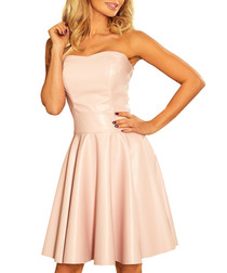 Pink sweetheart neck flared dress