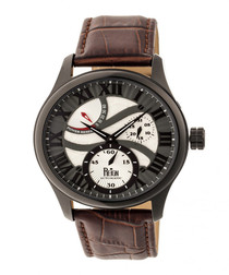 Bhutan dark brown leather watch