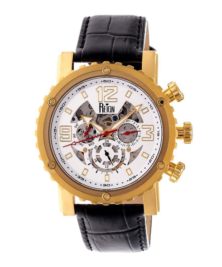 Alpin gold-tone & black leather watch Sale - reign