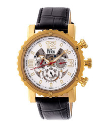 Alpin gold-tone & black leather watch