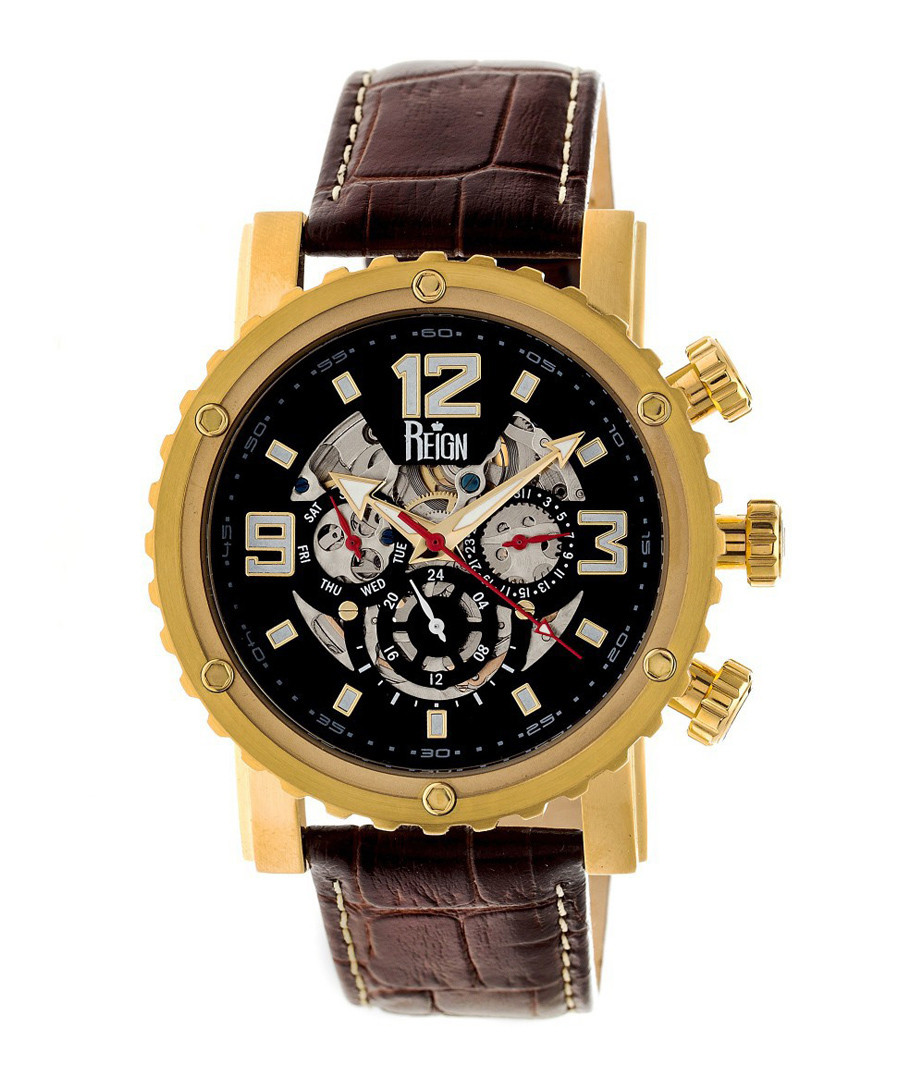 Alpin gold-tone & brown leather watch Sale - reign