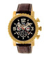 Alpin gold-tone & brown leather watch Sale - reign Sale