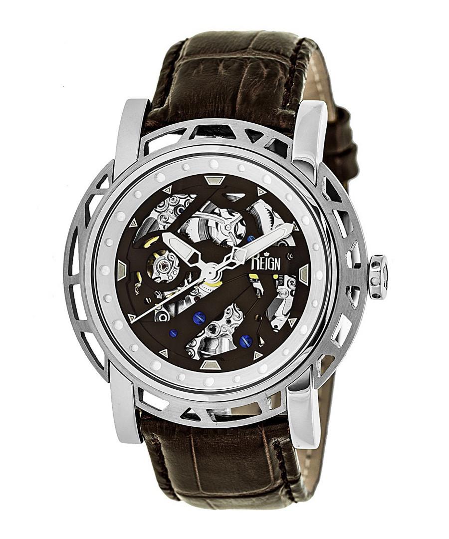 Stavros dark brown leather watch Sale - reign