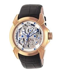 Optimus black leather watch
