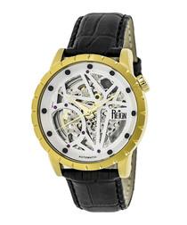 Xavier gold-tone & black leather watch