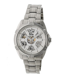 Carlisle white & silver-tone steel watch