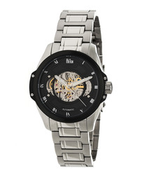 Henley black & silver-tone steel watch